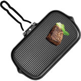 Cast Iron Pre-Season BBQ Grill Pan with Folding Handle