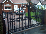 Used Beautiful Decoration Galvanized Wrought Iron House Main Gate/Steel Driveway Gate