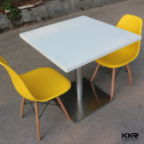 Pure White Small Square Stone Dining Table