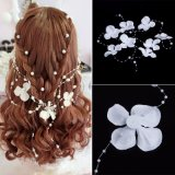 Wedding Bridal White Pearl Flower Garland Bridesmaid Hair