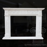 Good Quality Simple Partten White, Egypt Beige Marble Fireplace Mantel