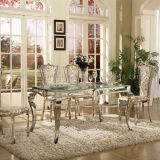 Popular Rectangle Modern Center Dining Room Tempered Glass Table