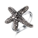 Custom Starfish Design Fashion Jewelry Crystal White Gold Ring