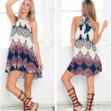European and American Fashion Loose Printed Sleeveless Sexy Mini-Dresses