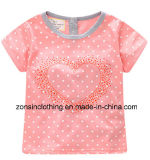 Girls′ Summer Short Sleeve T-Shirt with Sweety Heart on Chest Children Clothes