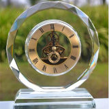 Round Crystal Glass Table Clock for Gift