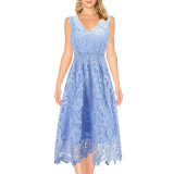 Women′s Summer Casual Lace Sleeveless V-Neck Cocktail Dress