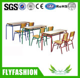 Primary School Furniture Single Student Trapozoid Study Table with Chair