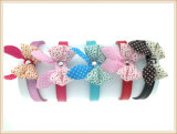 Colorful Hand Made Leather Dog Cat Collars with Bowknots for Small Pets (KC0138)