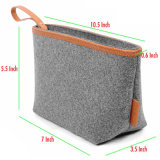 Young Design Wool Felt Briefcase Bag, Cosmetic Hand Bag with PU Leather Handle