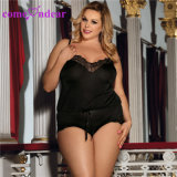 Charming Black Plus Size Sheer Mesh Lace Teddy Lingerie