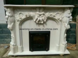 Natural Stone White Marble Mantel/Fireplace with Baby Angel Sculpture