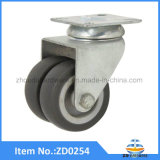 TPR Twin Wheel Castors Soft Grey Rubber Double Industrial Casters Without Brake