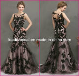 Maroon Prom Gowns Black Lace Bridesmaid Evening Dresses E237