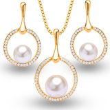 18k Gold Dimond Jewelry Set Pearl 925 Sterling Silver