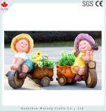 Cute Cartoon Polyresin Boy & Girl Planter
