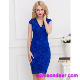 Slim Elegant Blue Half Sleeve Fashion Ladies Dress