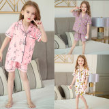 Children′s Pajamas 2020 Spring and Summer New Baby Short-Sleeved Cardigan Suit Pyjamas Kids