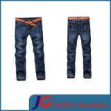 Wrinkle Pocket Embroidery Blue Long Jean Pants for Man (JC3284)