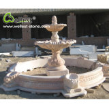 Red Orange Marble Hand Carved Sculpture Garden Water Pond Fountain