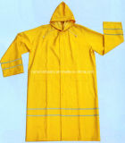 0.32mm Long PVC Raincoat with Reflective Tapes R9096
