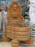 Beige / Yellow Marble Animal Statue Wall Garden Fountain