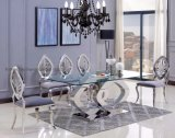 Modern Clear Glass Dining Table and Chair Set Hotel Furniture