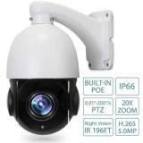 Mini Outdoor Poe IP PTZ Camera 5.0megapixel (2592X1944 Pixel) 4.7mm-94mm Lens 20X with 60m IR Distance
