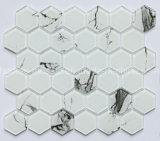 Factory Supply Hexagon Carrara White Glass Mosaic Tile for Wall