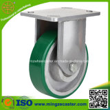 Heavy Duty Fixed Green PU Trolley Caster Wheel