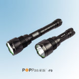 Waterproof Ipx7 CREE T6 Brightest Aluminum Tactical LED Flashlight (POPPAS-F9)