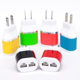 EU Plug Dual USB 5 V 2A Poorten Travel Adapter Charger Color for iPhone 5 S 6 6lus