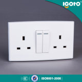 Igoto British Standard Dl3013 Double 13A Switched Socket with 2 Gang Switch