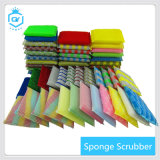 Non-Abrasive Colorful Sponge Kitchen Scourer Pad with Polybag Packing Multifunctional Durable Absorption Abrasive Kitchen Cleaning Mesh Sponge Scrubber