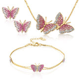 Fashionable Bow Butterfly Bracelet Earring and Necklace Crystal Jewelry Set