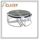Dining Hot Sale Round Tempered Glass Top Coffee Table Furniture with Four Nesting Legs