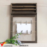 Antique Home Decoration Wooden Shelf with Clips for Pictures