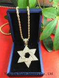 Bling Bling  Hip Hop Jewelry CZ Star of David Medium Double Bling Pendant Necklace