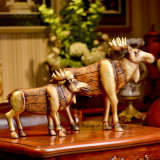 Home Decor Antique Gold Moose Sculpture Polyresin Christmas Gift Crafts