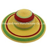 Customize Wide Brim Round Head Ladies Dyed Multicolor Paper Straw Floppy Hat