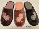 New Style Ladies Closed Toe Textile Indoor Slippers for Women
