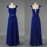 Wholesale Beaded Long Cap Sleeves Chiffon Royal Blue Evening Party Prom Dresses Gown
