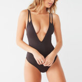 Deep Plunge Neck Open Strappy Back One-Piece Swimsuit