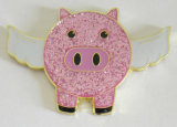 Cute Pink Fly Pig Metal Badge Pin in Glitter (badge-195)