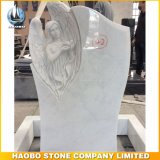 Han White Marble Monument with Angel Carved Headstone