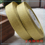 Hot Sale Wholesale Width Gold and Silvery Glitter Purl Satin Ribbon