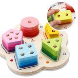 Wooden Children Education Shape Colors Fraction Learning Sorter Stacking Blocks Toy