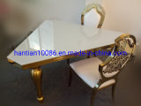 Featured Wedding Event Square Mirror White Glass Dining Table Hotel Lobby Furniture