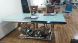 Modern Benz Logo Tempered Glass Top Stainless Steel Dining Table