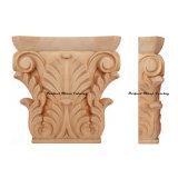 Wood Carved Palm Tree Leaf Pilaster Capital Cap-F-011